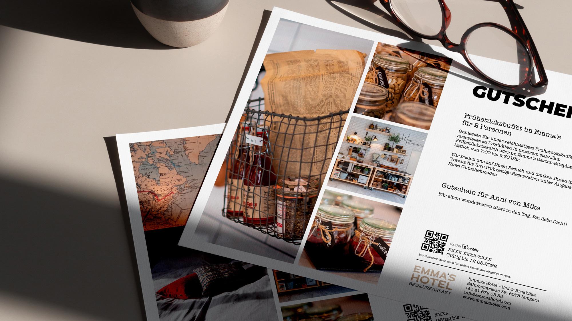 e-guma Gutscheinsystem Gutscheinlayout print@home EMMAS HOTEL