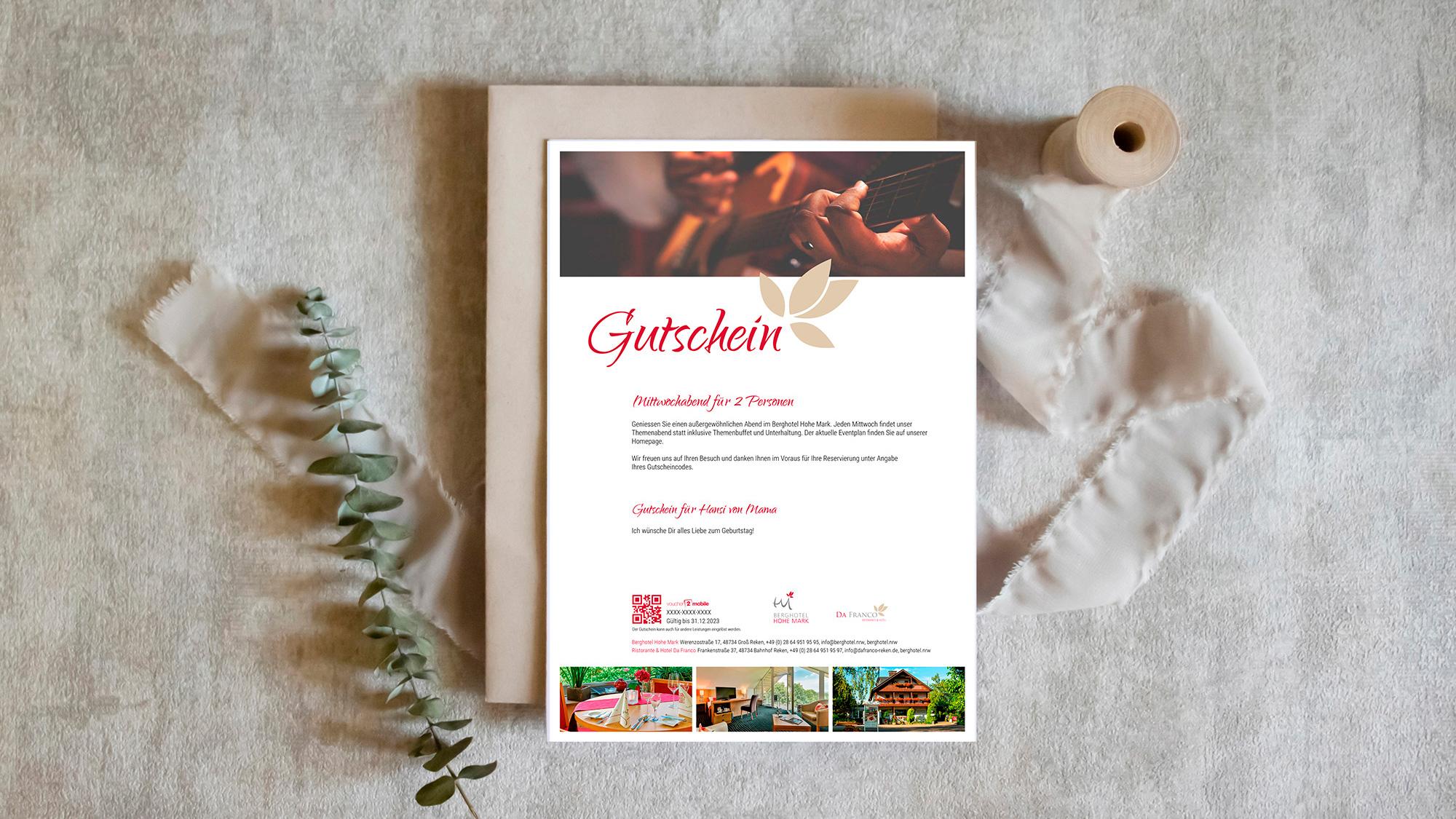 e-guma Gutscheinsystem Gutscheinlayout print@home Berghotel Hohe Mark