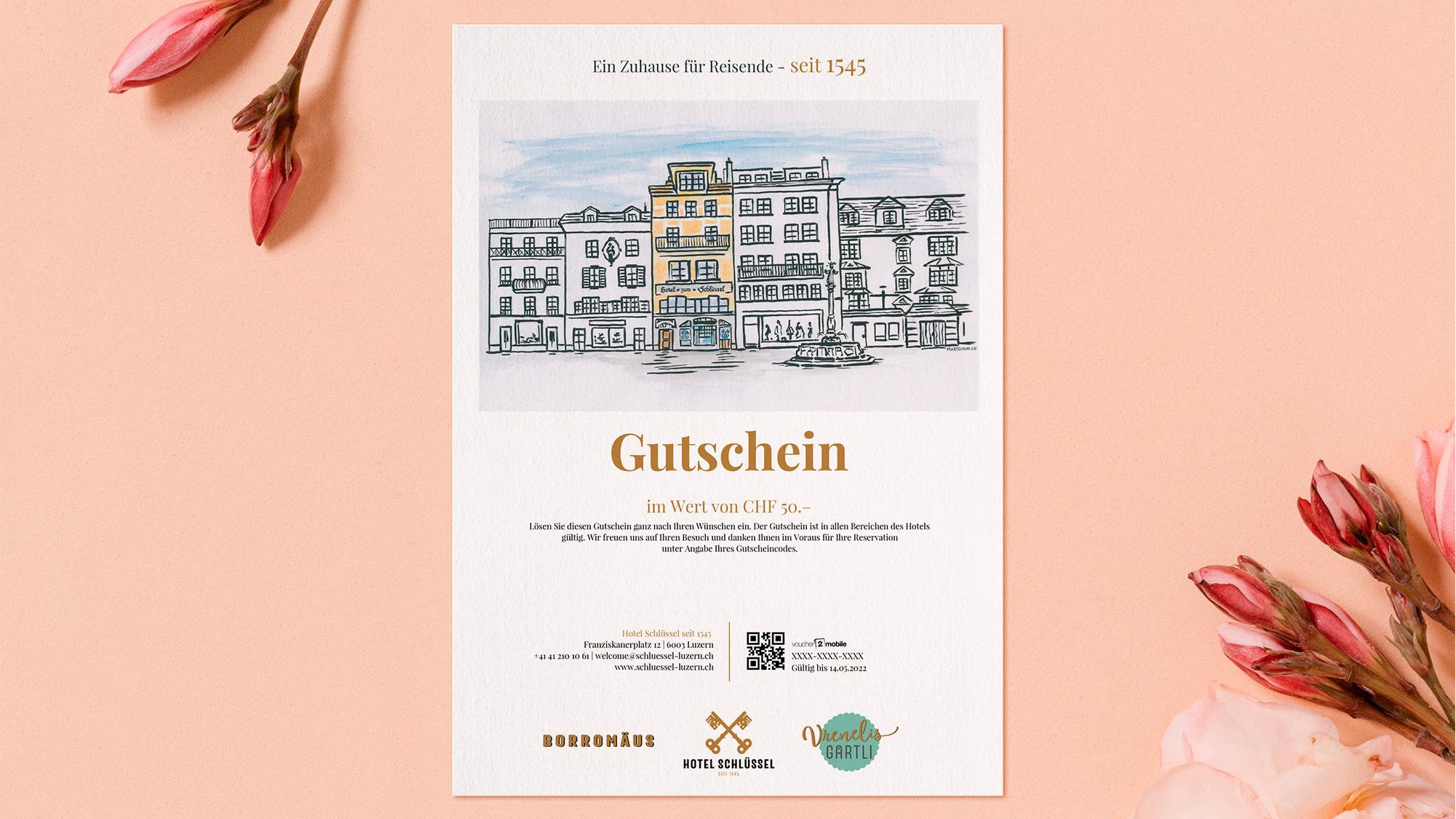 e-guma Gutscheinsystem Gutscheinlayout print@home Hotel Schlüssel
