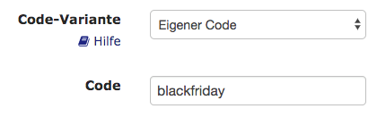 Black Friday Promocode in e-guma einrichten